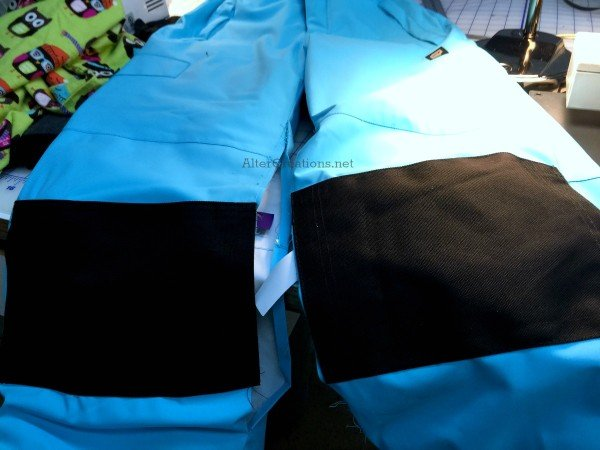 We also added mogul-style patches to these ski pants.