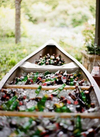 Wedding canoe with drinks